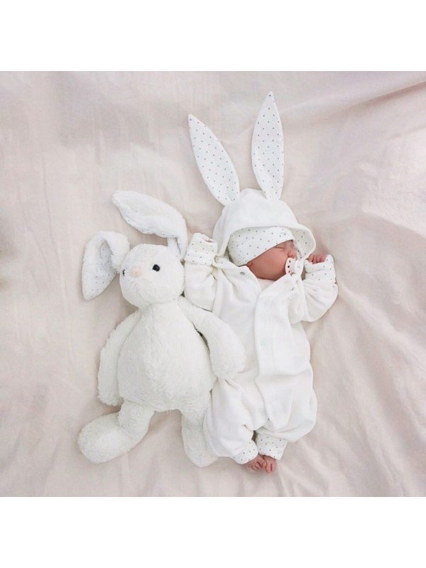 Комбинезон Bunny Overall White Plush / Silver Dots