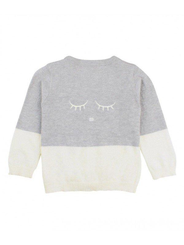 Кардган V-Neck Cardigan Ivory / Grey
