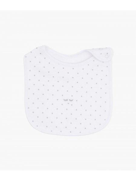 Слюнявчик Saturday Bib White / Silver Dots