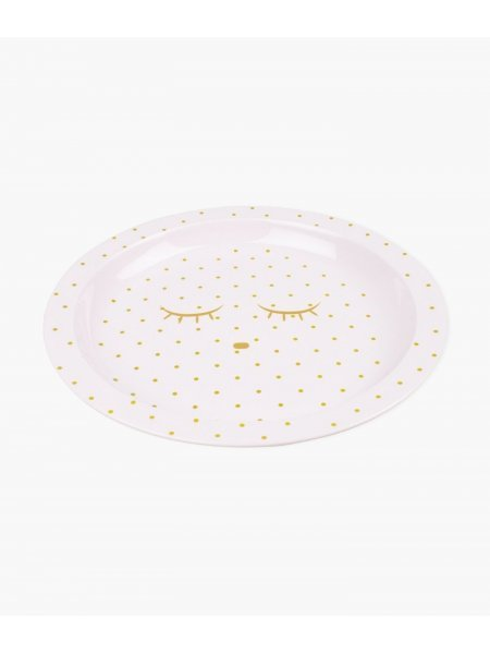 Тарелка Plate Pink / Gold Dots