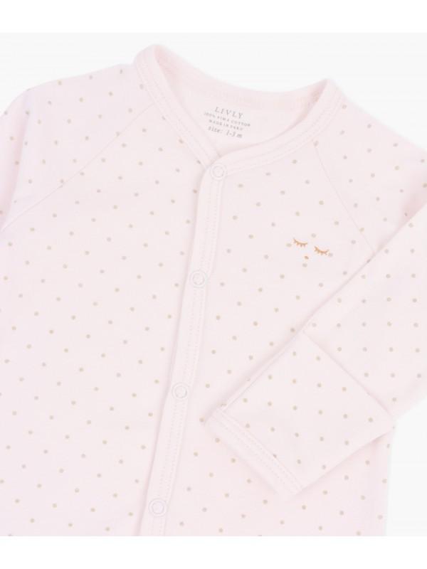 Человечек (слип) Saturday Simplicity Footie Pink / Gold Dots
