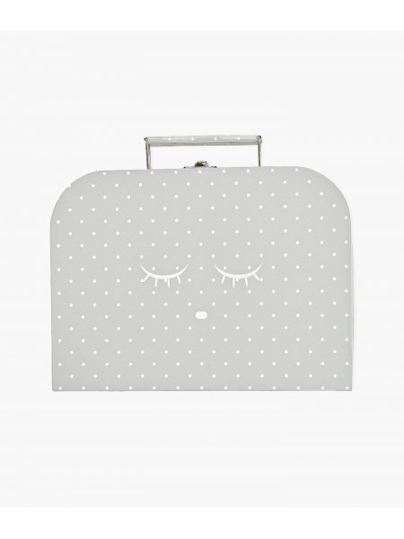 Чемодан средний Medium Cleeping Cutie Trunk Grey / White Dots