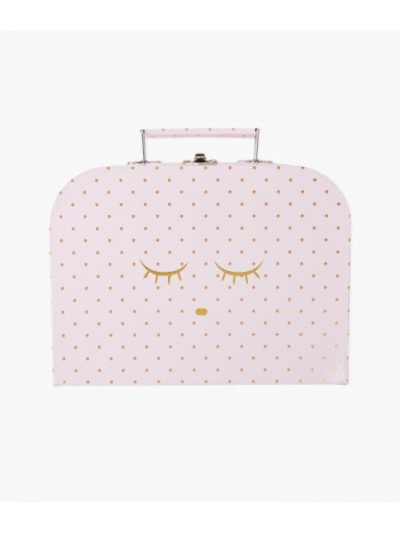 Чемодан средний Medium Cleeping Cutie Trunk Pink Gold Dots