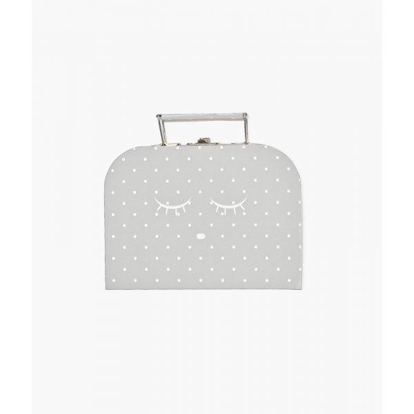 Чемодан маленький Small Cleeping Cutie Trunk Grey / White Dots