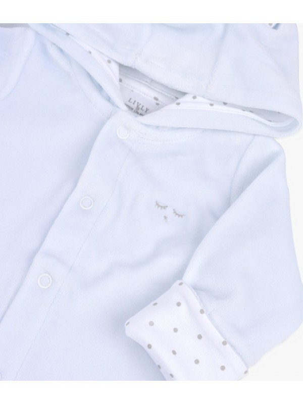 Велюровый человечек с ушками Bunny Overall Blue Plush / Silver Dots