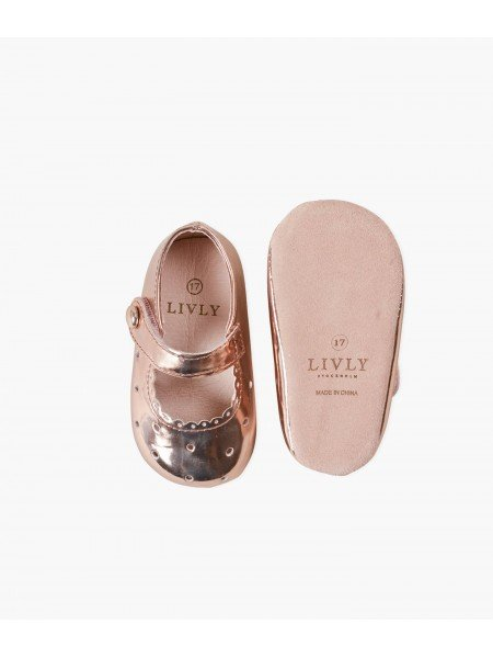 Туфли Baby Mary Jane Shoes Rose Gold Scallop