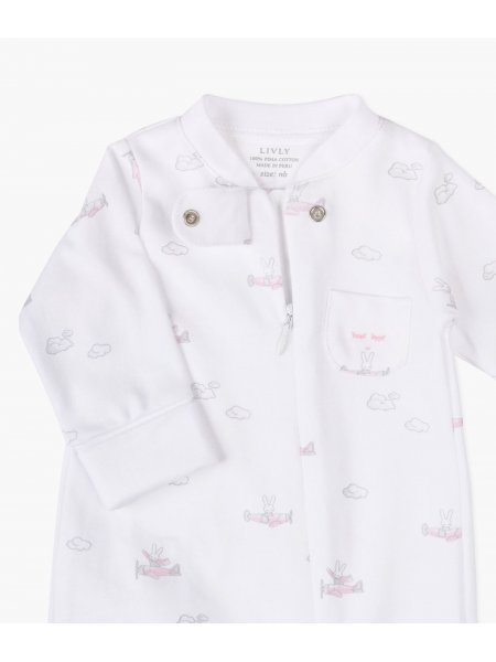 Комбинезон Bunny Airplane Zipper Footie Pink