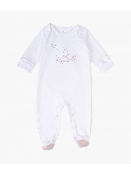 Комбинезон Bunny Airplane Cover Footie White / Pink