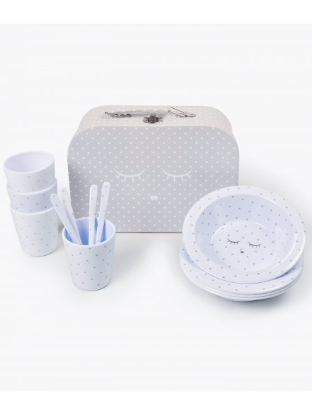 Набор Tableware Kit Blue / Silver Dots