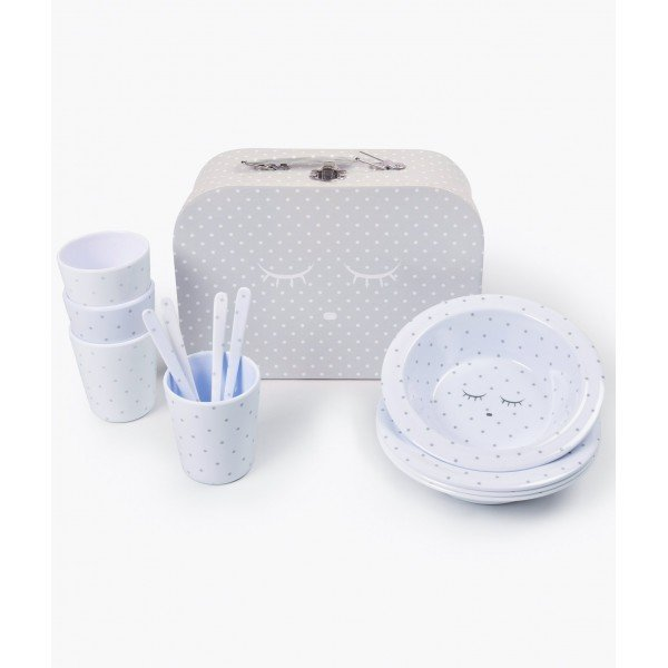 Набор Tableware Kit Blue / Silver Dots