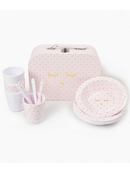 Набор Tableware Kit Pink / Gold Dots