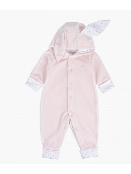 Велюровый человечек с ушками Bunny Overall Pink Plush / Silver Dots