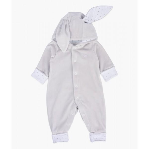 Велюровый человечек с ушками Bunny Overall Grey Plush / Silver Dots