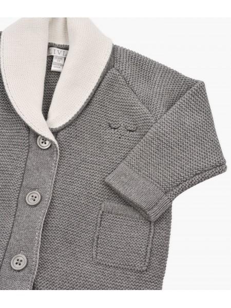 Кардиган Varsity Knit Cardigan Dark Grey / White
