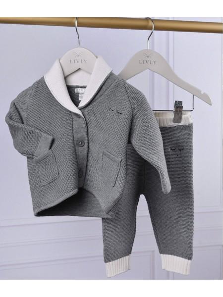 Штаны Varsity Knit Pants Dark Grey / White