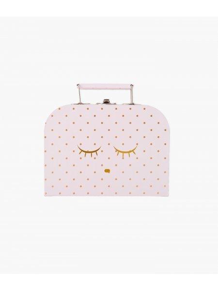 Чемодан маленький Small Cleeping Cutie Trunk Pink / Gold Dots