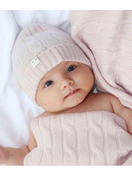 Шапка Cable Knit Cashmere Hat Light Mauve