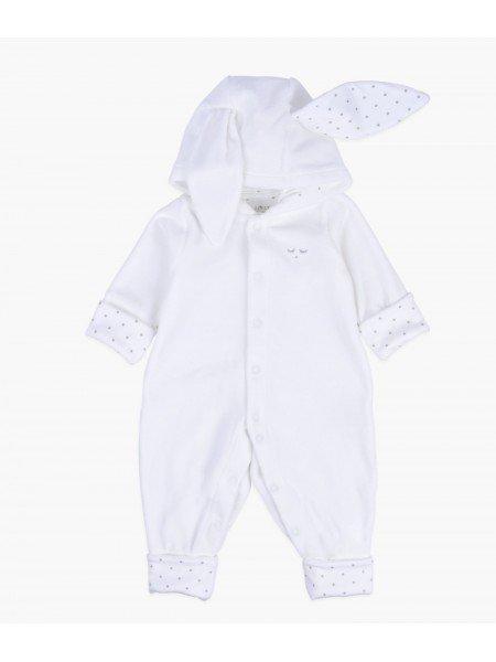 Велюровый человечек с ушками Bunny Overall White Plush / Silver Dots