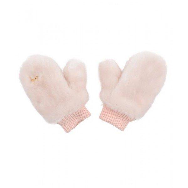 Рукавицы Large Faux Fur Gloves Pink
