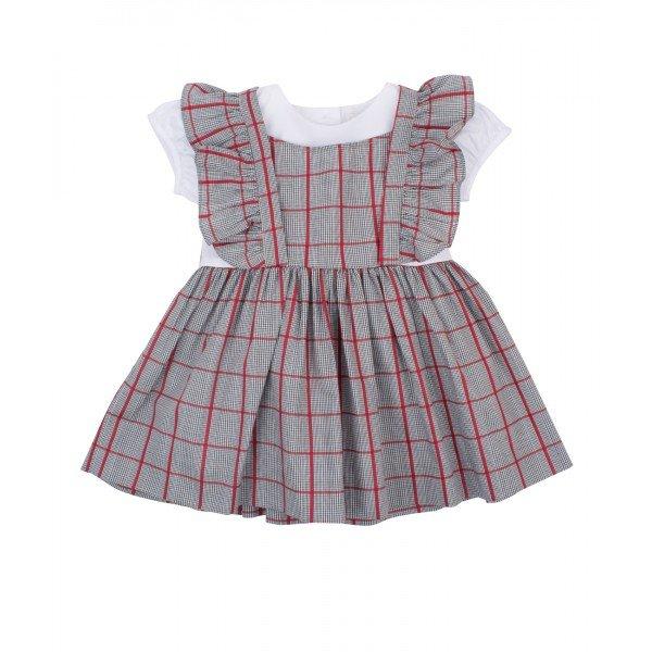 Платье Lisa Tunic Dress Grey Red Squares / White